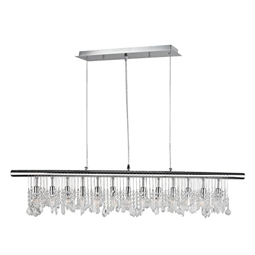 Collection Linear Pendant - Worldwide Lighting Nadia Collection 13 Light Chrome Finish and Clear Crystal Linear Pendant 48