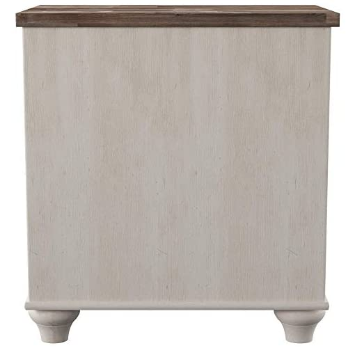 Bedroom Ashley Furniture Signature Design – Willowton Nightstand – Rustic Farmhouse Style – White Wash farmhouse nightstands