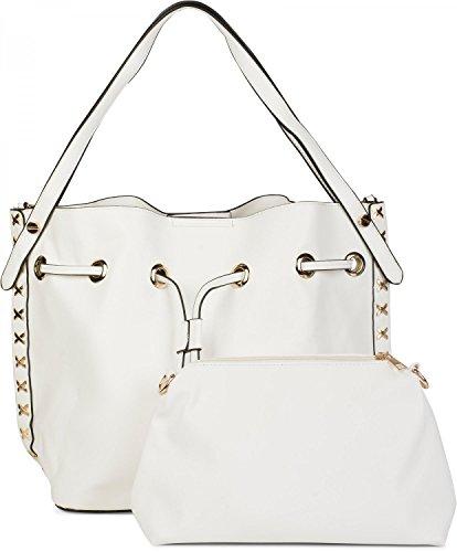 styleBREAKER set de bolsos de hombro con decoraciones de remaches de metal laterales, bolso de bandolera, bolso para compras, bolso, de señora 02012164, color:Gris claro Blanco