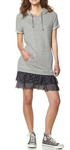 Sweatkleid Kleid Roanne mit Kaputze - Grau meliert