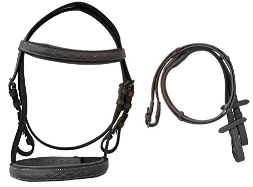 Fancy Stitched Mini English Padded Bridle with Web Reins (Black)