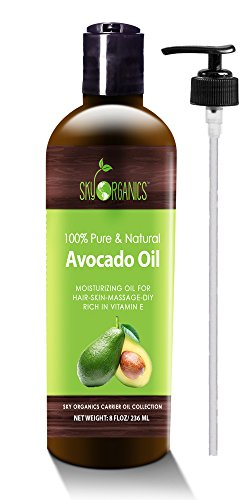 Avocado Oil by Sky Organics - 100% Pure, Natural & Cold-Pressed Avocado Oil - Ideal for Massage, Cooking and Aromatherapy- Rich in Vitamin E and Oleic Acid - 8oz