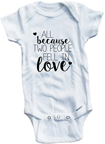 Baby Tee Time Girls' All Because Two People Fell In Love 0-3 Months White by Baby Tee Time (Image #2)