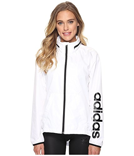 adidas Women's Linear Windbreaker Jacket, White, Large by adidas