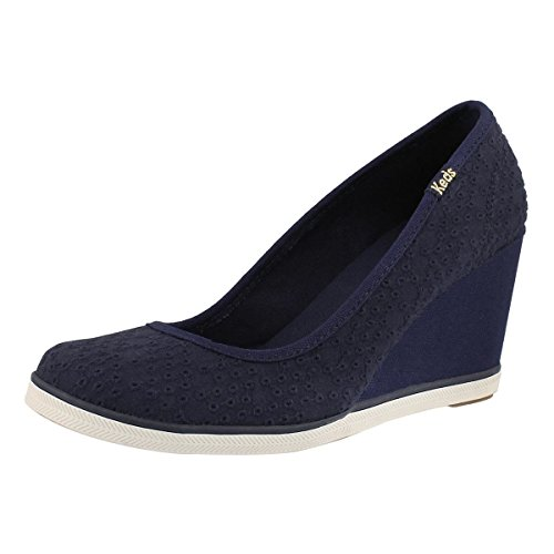 Keds Walking Shoes - Keds Women's Damsel Dot Eyelet Wedge Navy 9 M US