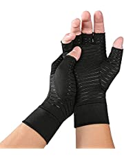 Chargen Anti-Slip Compression Arthritis Gloves, Half Finger Copper Infused Glove for Women and Men, Fingerless Compression Gloves, Pain Relief and Healing for Arthritis, Wrist Support