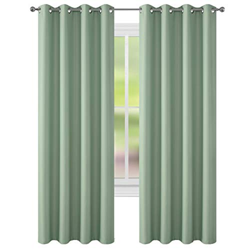 FLOWEROOM Room Darkening Curtains Thermal Insulated Blackout Curtain with Grommet for Girls Bedroom, Nile Green, 52 by 84 inch, 2 Panels