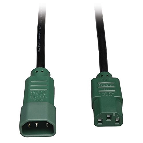 Tripp Lite Heavy-Duty Power Extension Cord 15A, 14AWG (IEC-320-C14 to IEC-320-C13 with Green Plugs) - Green C14
