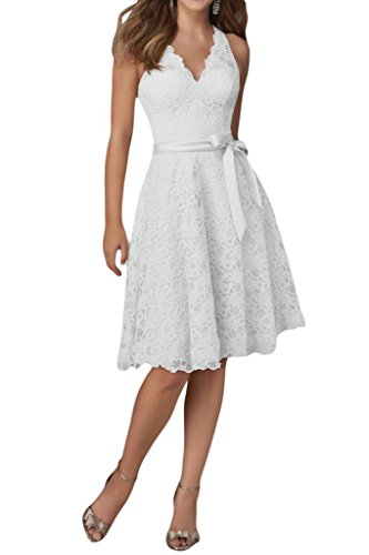 Charm Bridal Lace V neck Junior Girl Summer Party Prom Dresses Short Knee Length -26W-White by Charm Bridal