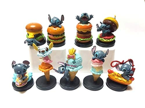 PAPRING Set 9 Lilo Toy 1.1 - 2 inch Stitch PVC Action Figure Movie Small Toys Figures Hot Model Mini Gift Christmas Halloween Birthday Gifts Cute Doll Animal Collectible for Kids Adults]()