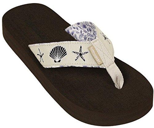 Womens Tidewater Boardwalk Flip Flop Sandals,8 B(M) US,Natural/Navy