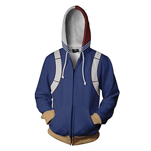 VOSTE My Hero Academia Hoodie 3D Printed Jacket Todoroki Syouto Cosplay Costume (Large, Color 1)