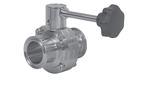 Dixon Sanitary B5101 Butterfly Valve 2 Clamp Ends w//EPDM Seat /& Trigger Handle