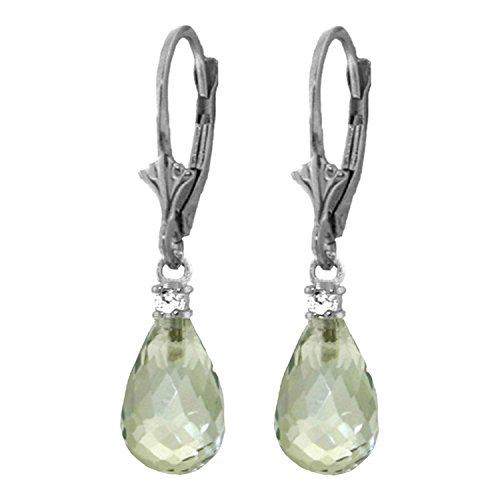ALARRI 4.6 Carat 14K Solid White Gold Leverback Earrings Diamond Green Amethyst by ALARRI