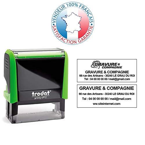 Blanc 10 couleurs disponibles Tampon encreur professionnel personnalis/é 4 lignes TRODAT PRINTY 4912 EMPREINTE 47 x 18 mm OFFERTE