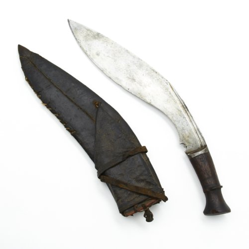 Antique Original Nepalese Gurkha Bhojpure Kukri Fighting Knife with Soft Leather Scabbard