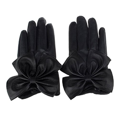 Womens Lady Winter Warm Gloves,Putars Fashion Sexy Ladies Butterfly Bow Wrist Soft Leather Winter Gloves Black