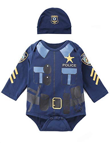 Baby Police Costume (Paddy Field Baby Girls Boys Police Costume Bodysuit (6-12 Months,)