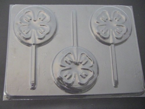 4H Clover Chocolate Candy Lollipop Mold