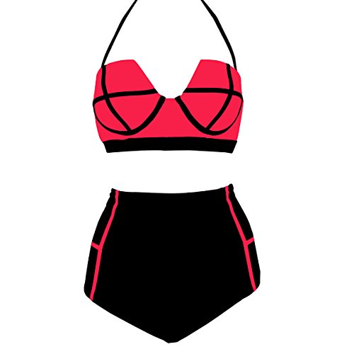 LA PLAGE Women's Two Piece High Waist Vintage Padded Bra Swimwear Size US Large Pink Black