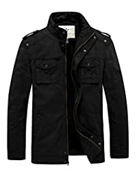 WenVen Men's Stand Collar Thick Military Jacket