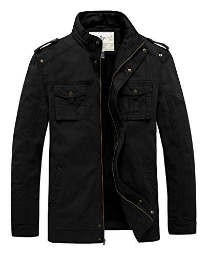 WenVen Men's Winter Warm Twill Cotton Stand Collar Thicken Jacket(Black,M)