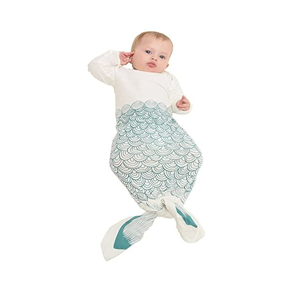 Mrotrida Newborn Swaddle Blanket Cute Baby Onesies Long Sleeves Mermaid Print Sleepwear Gowns Medium Green