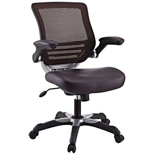 Modway Edge Mesh Back and Brown Vinyl Seat Office Chair With Flip-Up Arms - Ergonomic Desk And Computer - Seat Adjustable Chair