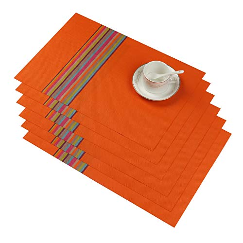 SHACOS Kitchen Placemats Set of 6 PVC Woven Vinyl Table Mats for Dining Table Heat Resistant Wipe Clean (6, R Orange)