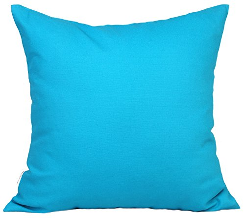 TangDepot Handmade Decorative Solid 100% Cotton Canvas Throw Pillow Covers/Pillow Shams, (28x28, Blue Ashes)