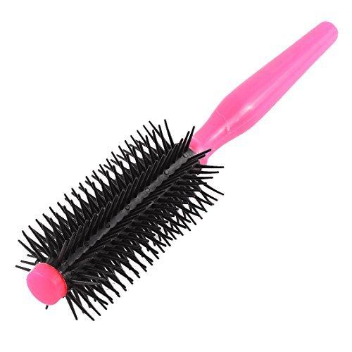 DealMuxプラスチック髪型ウェービーヘアカーリーヘアくしロールラウンドブラシブラックピンク B01EZR0MAG