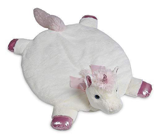 Bearington Baby Dreamer Belly Blanket, White and Pink Unicorn Plush Stuffed Animal Tummy Time Play Mat