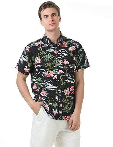 Leisurely Pace Men's Hawaiian Aloha Shirt Short Sleeve Tropical Floral Print Button Down Shirt (03BK,S)