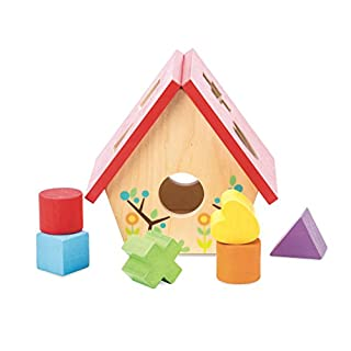 Le Toy Van - Educational My Little Bird House Wood Shape Sorter | Puzzle Sensory Baby Toy with Colorful Blocks - Suitable for 1 Year Olds and Older (PL085)