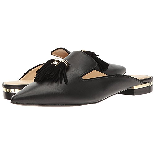 Mavirs Mule Slides, Womens Backless Slip On Loafers Tassels Pointed Toe Slipper Shoes Black