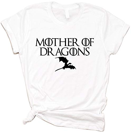 (100% Cotton Unisex T-Shirt Mother of Dragons T-Shirts,Game of Thrones (White, XXL))