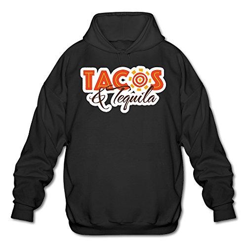 PHOEB Mens Sportswear Drawstring Hoodies Outwear Jacket,Tacos & Tequila Black Large