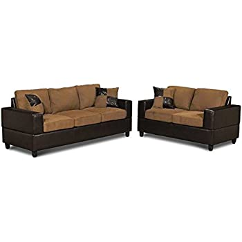 5 Piece Microfiber And Faux Leather Sofa And Love Seat Living Room  Furniture Set, Tan Part 16