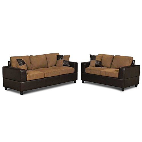 5 Piece Microfiber and Faux Leather Sofa and Love Seat Living Room Furniture Set, Tan and Brown (Tan)