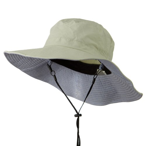 Big Size Talson UV Bucket Hat with Adjustable Chin Cord - Khaki (Wired Nylon Hat)