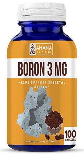Ahana Nutrition Boron Supplement - Supports Bone Health, Aids Bone Density and Muscle Mass (Boron 3mg - 100 Capsules)