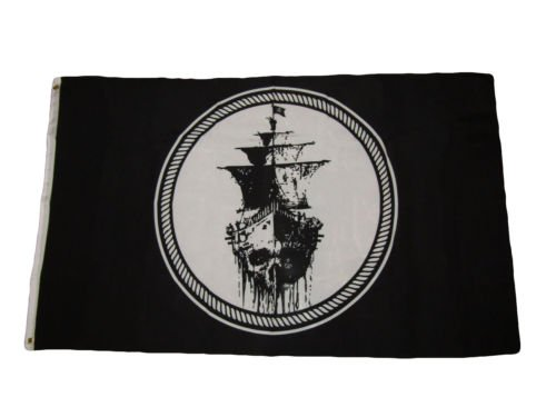 3x5 Jolly Roger Pirate Black Sea Ghost Ship Black Pearl Flag