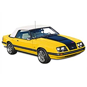 Ford Mustang Convertible Top for 83-90 Models in Pinpoint Vinyl with Glass Window, Ford White