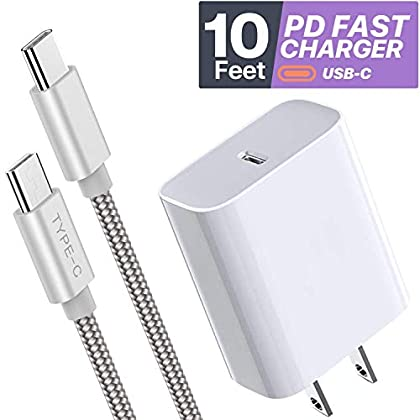 Boxgear 10ft USB C Charger – 18W PD Fast Wall Charger for ipad Pro/Note 10/ 10+/ Galaxy S20/ Google Pixel 4/ 4LX/ LG V60…