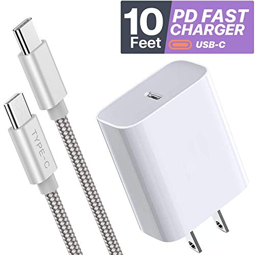 USB C {10 Feet} Fast Charger Set for iPad Pro (3rd Generation 11-inch and 12.9-Inch) - BOXGEAR 18W PD Wall Charger + USB-C 10 Ft Braided Cable for Note 10, Galaxy S20, Google Pixel 4, LG V60, White