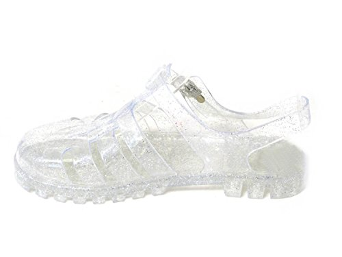 SKO'S Womens Girls Kids Low Mid Block Heel Rubber Jelly Gladiator Cut Out Retro Sandals Shoes Size Clear (60) nlYijTc