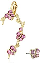 Betsey Johnson Crystal Stud and Butterfly Set Ear Cuffs