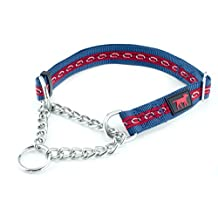 Heavy Duty Martingale Dog Training Collar by Tuff Pupper | Limited Cinch Design | Adjustable Size | Stainless Steel Chain | Ballistic Nylon | Accent Stitching