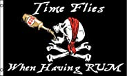 Pirate Time Flies When Having Rum Jolly Rodger Flag 3 x 5 Foot Ship Boat Flag