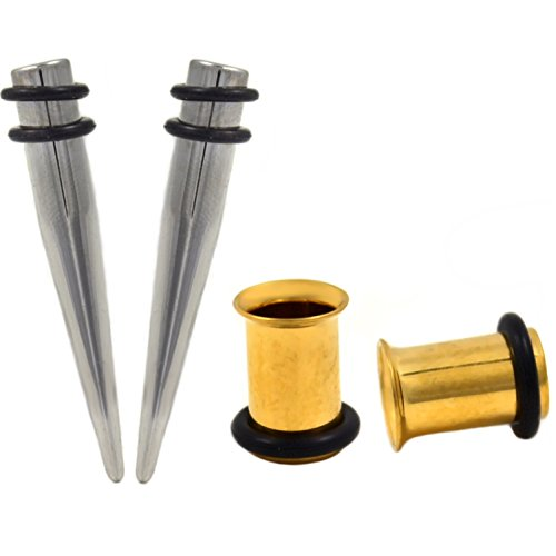 1 Gauge(1G-7mm) 4 Piece Ear Stretching Kit Tapers and Gold-Tone IP Steel Single Flared Tunnel - Pavilion Pc 1g